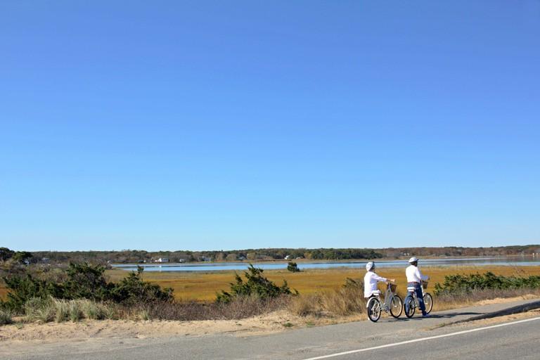 Cyclists riding on Martha?s Vineyard, Massachusetts, USA