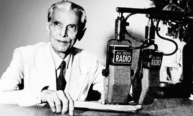 """English: Muhammad Ali Jinnah announces the creation of Pakistan over All India Radio, June 3, 1947 Source: http://paknews.com/pakhistory/quaid1.html (downloaded May 2004); 3 June 1947; http://www.columbia.edu/itc/mealac/pritchett/00routesdata/1900_1999/p"