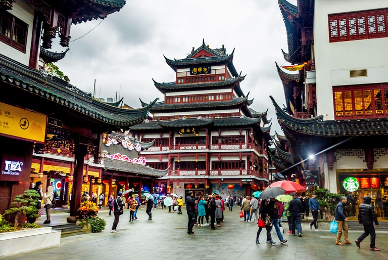 Shanghai, China view at the traditional Yuyuan Garden District
