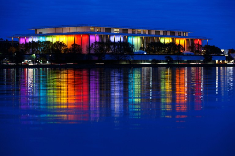 The Kennedy Center in Washington, DC with Rainbow Colors during Medium Blue Hour. Taken on December 8th, 2019.