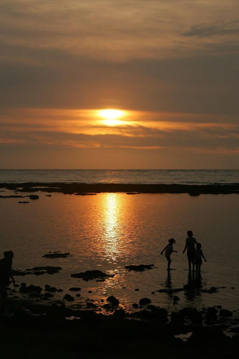 Sunset landscape of the Qianshuiwan Seaside Park at Sanzhi, Taiwan