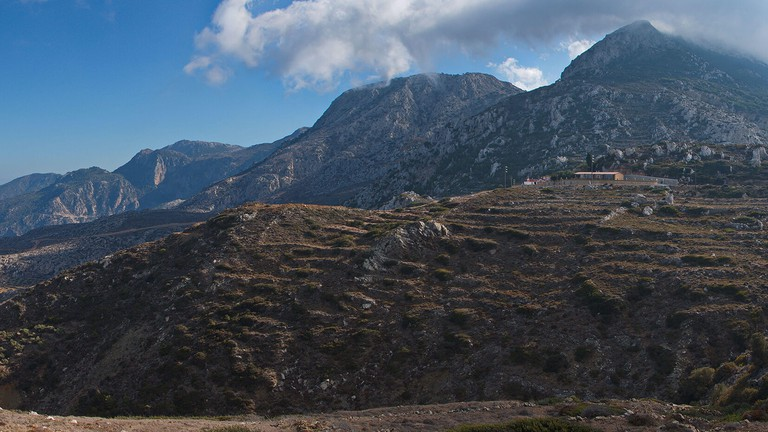 View of mountains in the east of Karpathos in Greece,Europe from Spoa