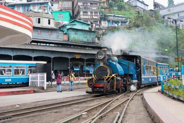 Darjeeling, India - Darjeeling Himalayan Railway at Darjeeling Railway Station in Darjeeling, West Bengal, India. It is part of the World Heritage.