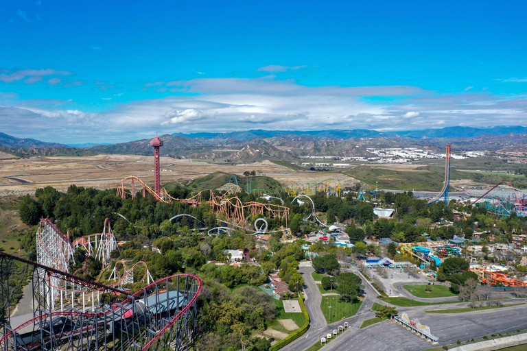 Valencia, California, USA, 2020. Aerial view of Six Flags Magic Mountain Valencia theme park reopens to the public and being closed due to COVID-19