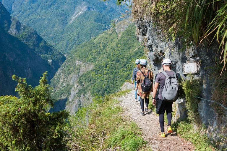 Hualien, Taiwan - Zhuilu Cliff at Zhuilu Old Road in Taroko National Park, Xiulin, Hualien, Taiwan.