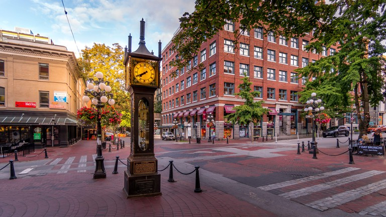 The famous Steam Clock on the corner of Water Street and Cambie Street in the historic Gastown part of Vancouver