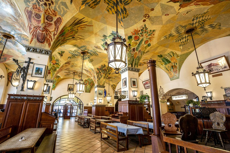 Interior of Hofbrauhaus, Munich, Germany