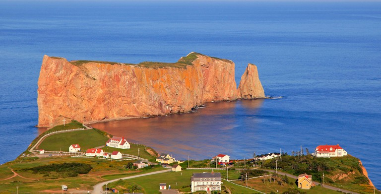 Perce Rock and village in Quebec