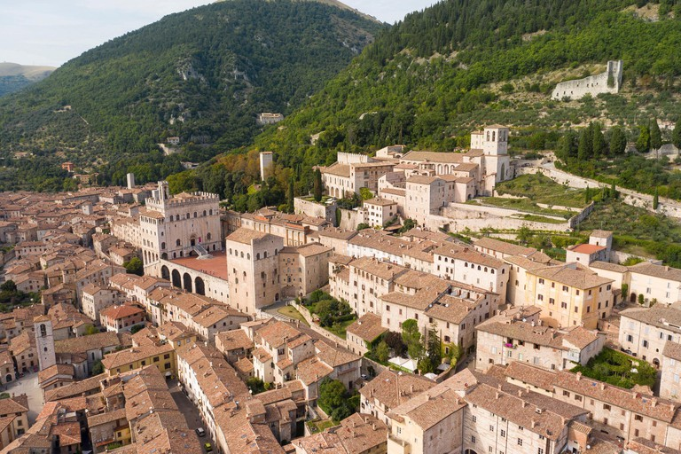 panoramic aerial view of the medieval town of gubbio umbria italy palace of the consuls