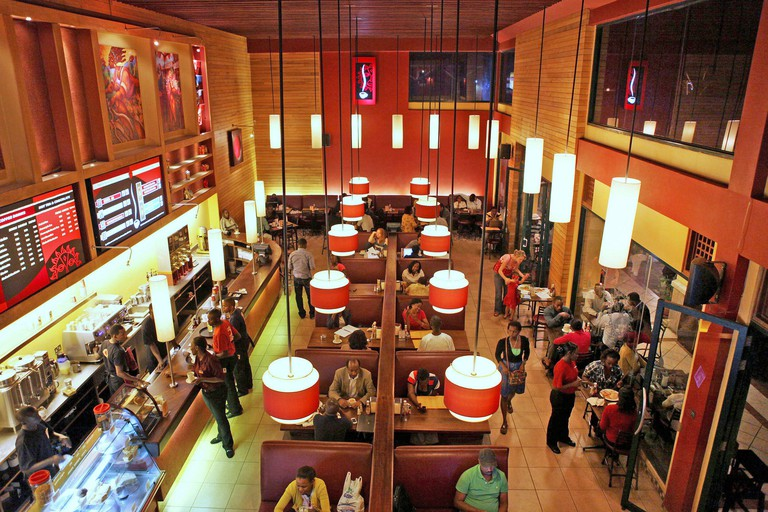 An interior view of a Nairobi Java House outlet in Nairobi January 20, 2012. Kenya's rich and new middle classes have a growing taste for coffee and ice cream. That's just one sign that African states such as Kenya are changing. Even as rich countries fac