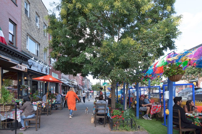 Charrito's Restaurant outdoor dining in Hoboken, New Jersey, United States, USA - 2D14GB5