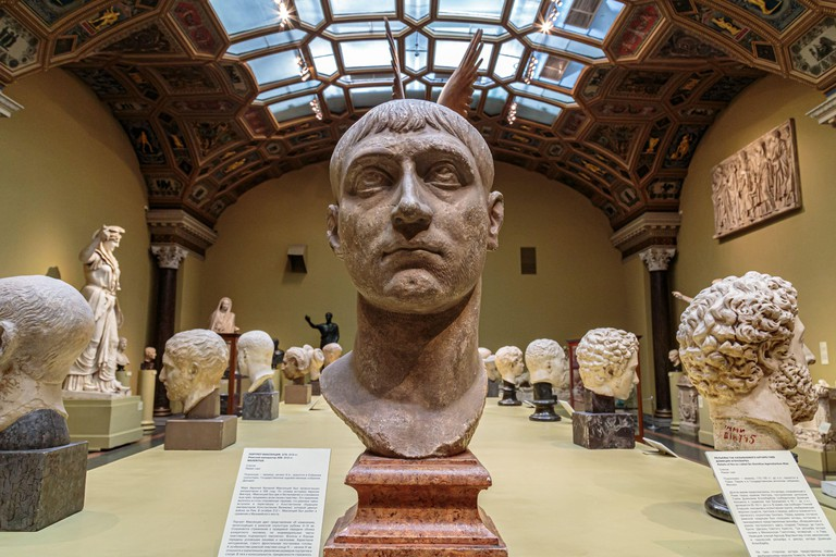 Moscow, Russia - November 21, 2018: Pushkin Museum of Fine Arts is largest museum of European art in Moscow, Russia
