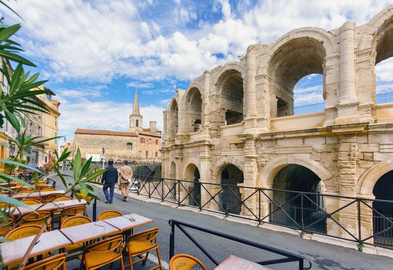 Arles, Provence-Alpes-Cote d'Azur, France.  Roman Amphitheatre. Arles is a UNESCO World Heritage Site.