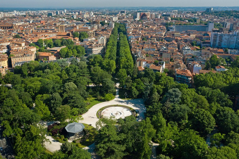 Toulouse (south of France): aerial view of the park Jardin du Grand Rond (also known as Boulingrin) and the lanes allees Forain Francois Verdier