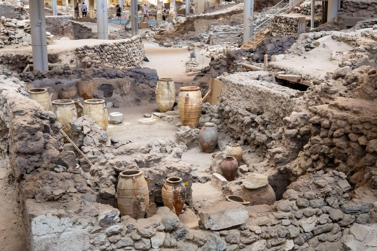 Santorini, Greece - September 18, 2020: Prehistoric town of Akrotiri, an archaeological site in Santorini, Greece