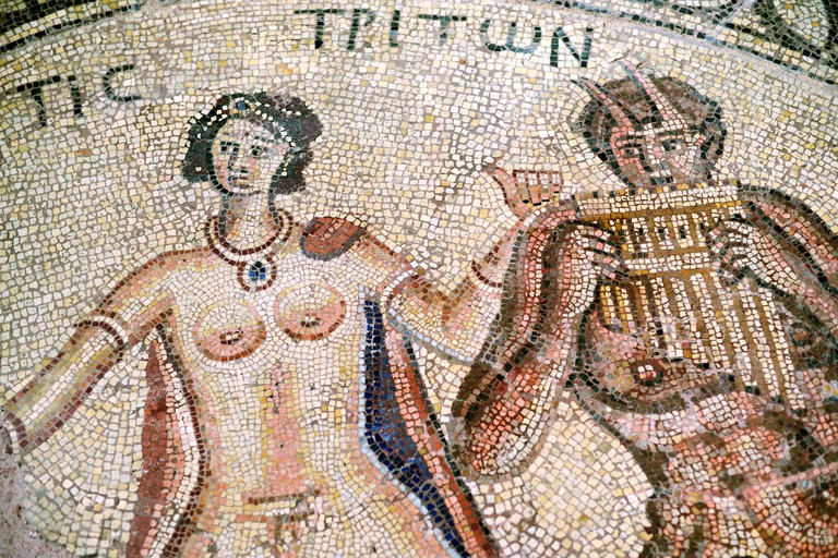 Thetis, Greek Goddess or Sea Nymph & Triton c4-5th Roman Floor Mosaic in Musee Saint-Raymond Toulouse France