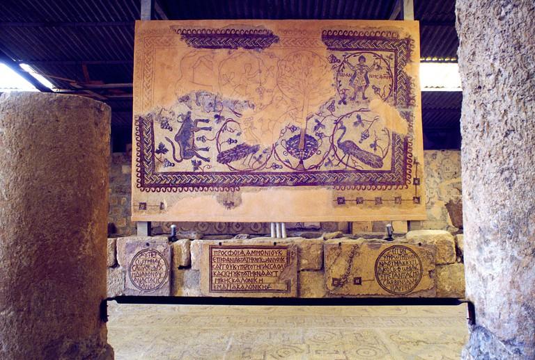 Mount Nebo Basilica of Moses Jordan Mosaic. Image shot 2000. Exact date unknown.