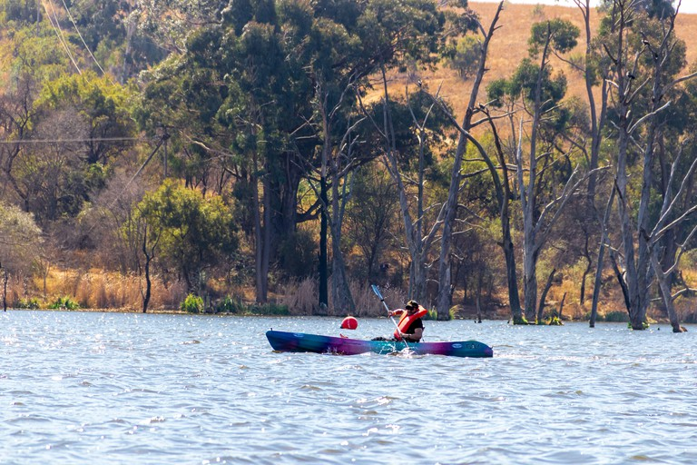 Take a kayak onto the lake at Cradle Moon Lakeside Game Lodge