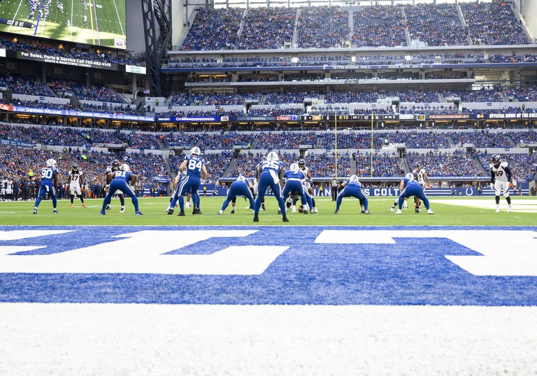 October 27, 2019: A general view of the action during NFL football game action between the Denver Broncos and the Indianapolis Colts at Lucas Oil Stadium in Indianapolis, Indiana. Indianapolis defeated Denver 15-13. John Mersits/CSM/Sipa USA.(Credit Image