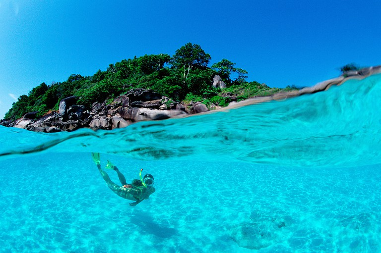Snorkeling near a tropical island Thailand Indian Ocean Phuket Similan Islands Andaman Sea