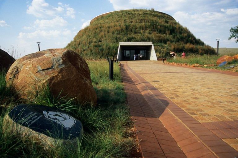 Entrance of famous Maropeng exhibition centre Cradle of Humankind World Heritage site Gauteng South Africa destinations travel. Image shot 02/2007. Exact date unknown.
