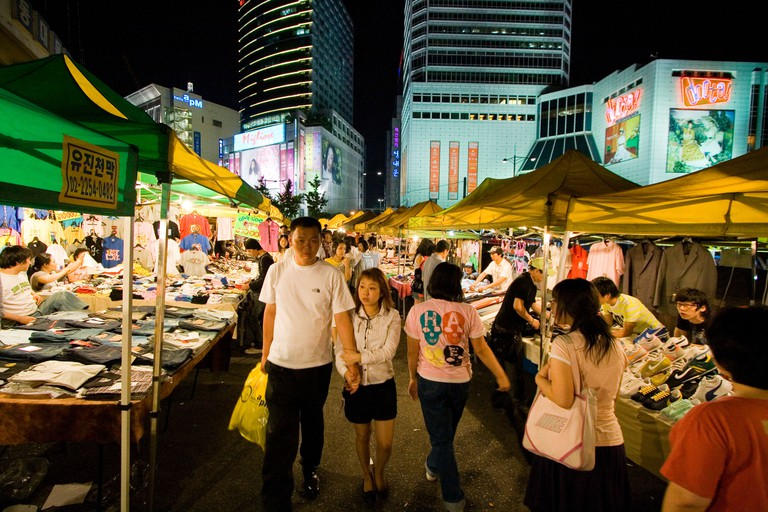 Shopping in the Outdoor Portion of Dongdaemun Night Market Seoul South Korea. Image shot 2007. Exact date unknown.