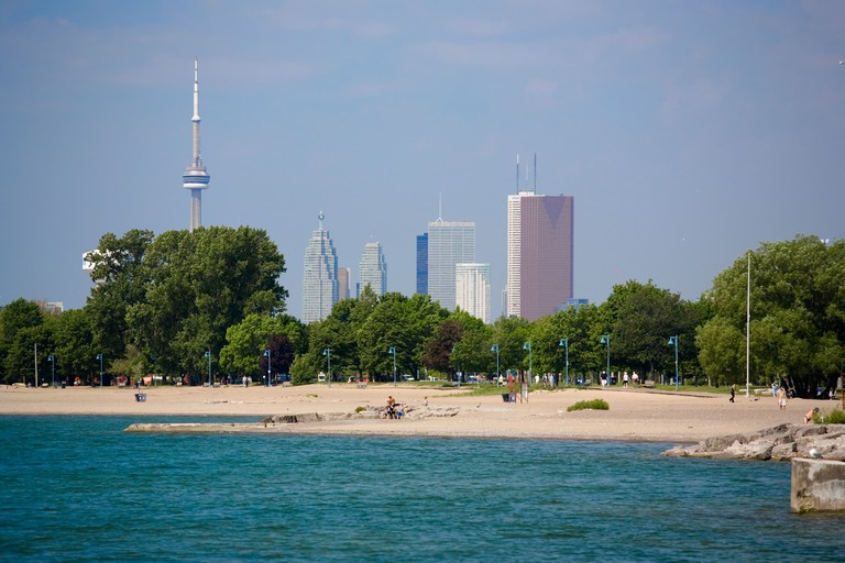 Toronto skyline from Eastern Beaches Park in Toronto Ontario Canada. Image shot 06/2006. Exact date unknown.