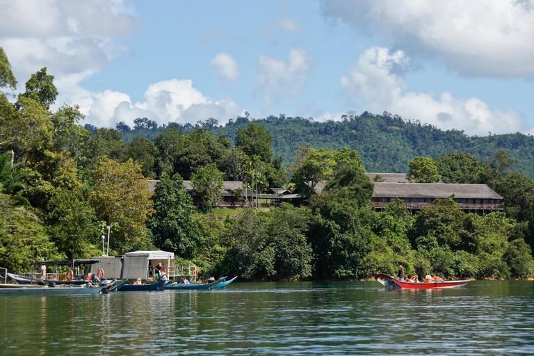 Tourists boats near the dock Aiman Batang Ai Resort, Batang Ai, Sarawak (Borneo), Malaysia