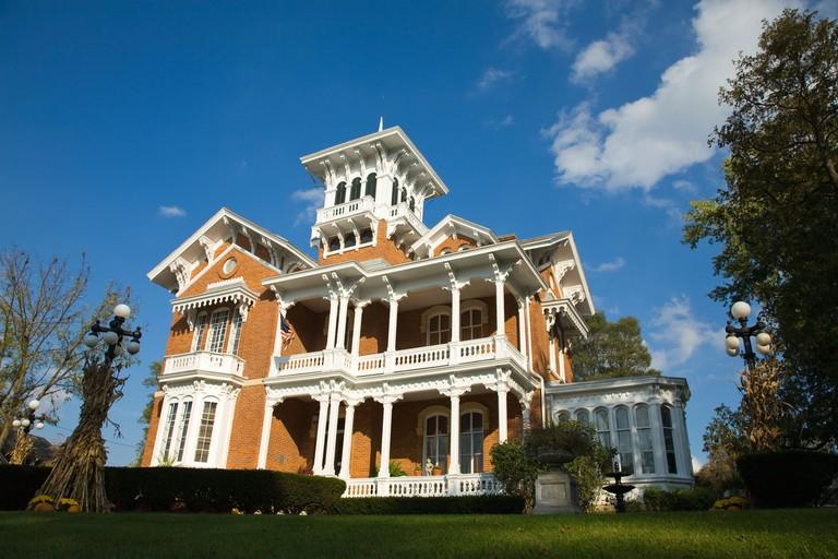 ILLINOIS Galena Exterior of Belvedere Mansion Victorian home built 1857 widows walk porch