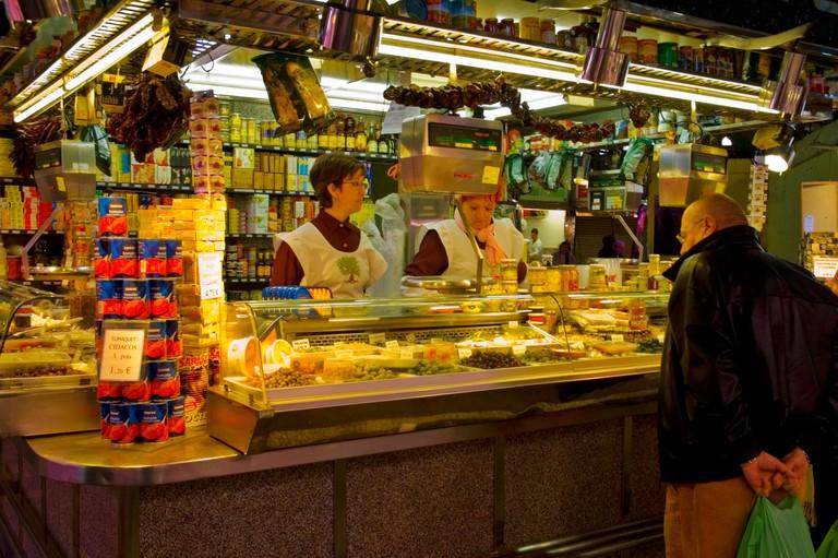 Gourmet stall Mercat de Sant Antoni Barcelona Spain EU