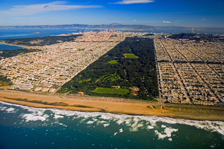 An aerial view of San Francisco and the Golden Gate Park