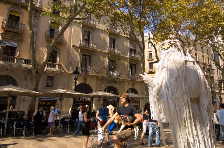 Human statues on La Rambla Barcelona Catalunya Spain
