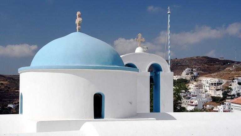 View of Church Kouronohori, Naxos Greece. Image shot 2006. Exact date unknown.