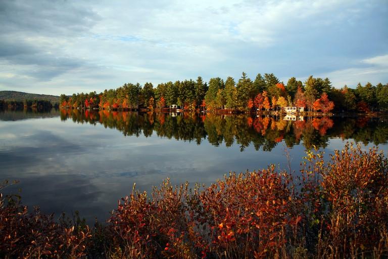 Evening view across Moosehead Lake Maine new England USA