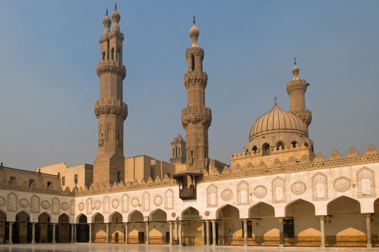 The Mamluk era double-finial minaret of Qansah al-Ghuri and minarets of Qaytbay and Aqbaghawiyya of Al-Azhar mosque in old  Islamic Cairo Egypt