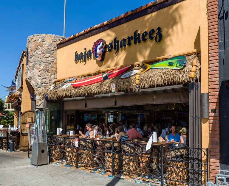 Bars and restaurants on McFadden Place, Balboa Peninsula, Newport Beach, Orange County, California, USA