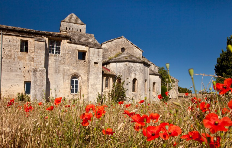 Red Poppies in front of Van Gogh Asylum St. Remy de-Provence France