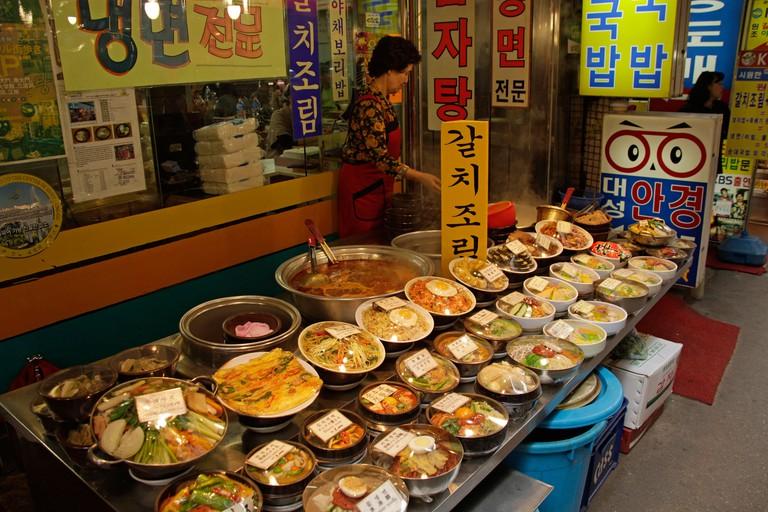 Food at the Namdaemun Market in South Koreas Capital Seoul, Asia