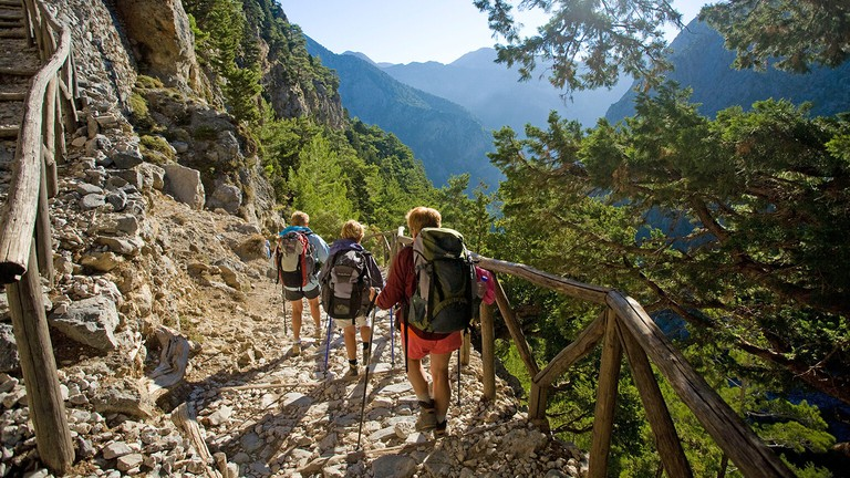 Hikers descending into the Samaria Gorge, Samaria National Park, Crete, Greece.. Image shot 2009. Exact date unknown.