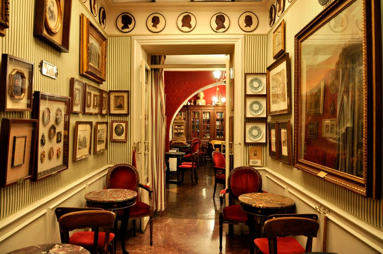 Interior of the Antico Caffe Greco, Via dei Condotti, Rome, Lazio, Italy, Europe