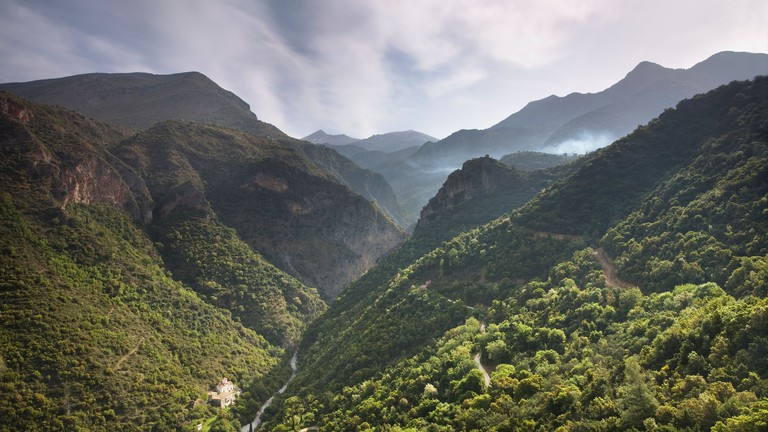 View along Viros gorge near Exohori village in the Peloponnese of Greece