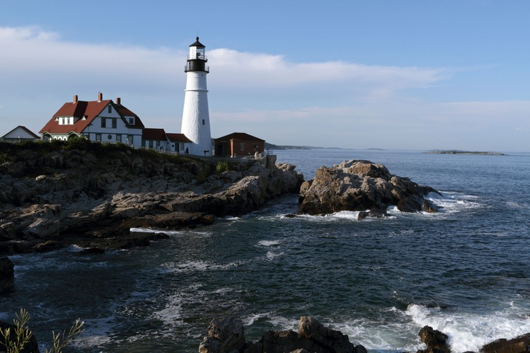 Portland Head Light in Cape Elizabeth, Maine, USA. The lighthouse sits at the southern edge of Casco Bay.