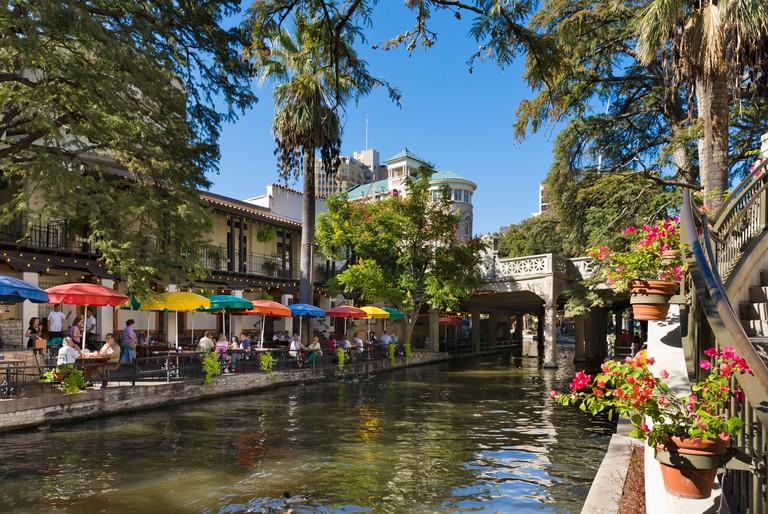 Waterfront restaurant on River Walk in downtown San Antonio, Texas, USA