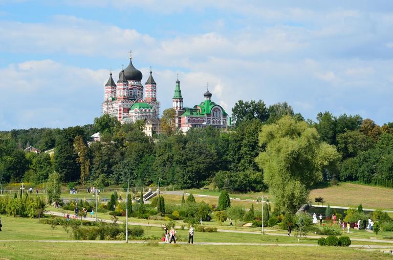 The Feofaniya park with Orthodox cathedral.