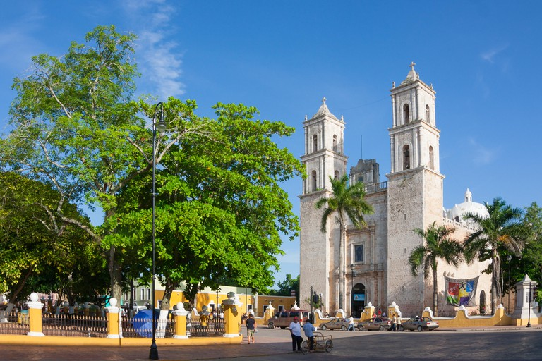 Cathedral of San Ildefonso in the central square Merida capital of Yucatan Mexico