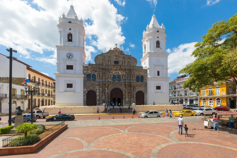 Panama City Cathedral iin a sunny day and Indipendence square. Image shot 02/2019. Exact date unknown.