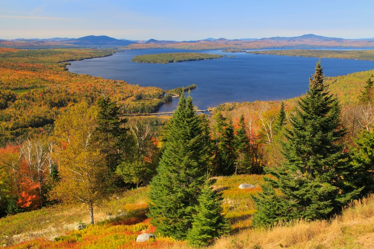 Mooselookmeguntic Lake Seen from Height of Land at Appalachian Trail, Oquossoc, Maine, USA