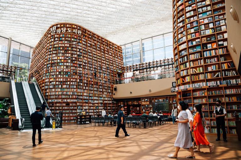 Seoul, Korea - July 17, 2020 : COEX mall Starfield Library at Gangnam District
