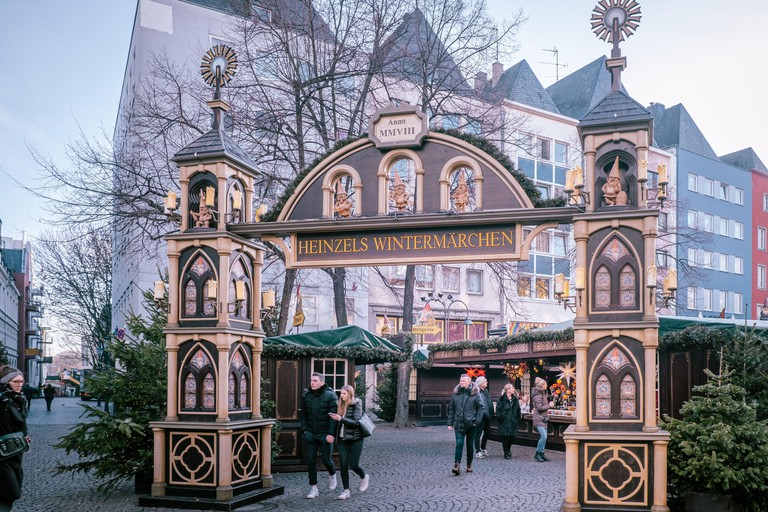 Cologne Germany December 2019, people at the Christmas market by the cathedral of Cologne