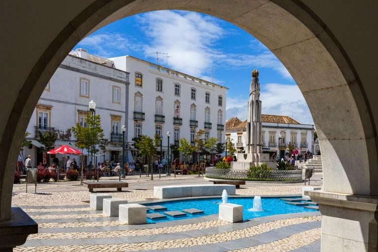 Praca da Republica in the centre of the Old Town, Tavira, Algarve, Portugal